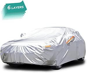 Audew Full Car Cover Snow Cover Layer Breathable Sun Shade Protector Waterproof Car Cover Windproof  Silver White YL  187L 76W 56H inch for Sedan