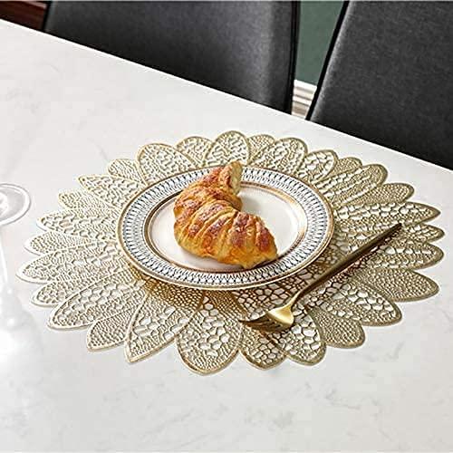 4/6 PCS Flores S for mesa de cocina CLORURO DE POLIVINILO Montaña redonda S for mesa de comedor Decoración, oro, 8 cm DAKSL (Color : Gold, Size : 38cm)