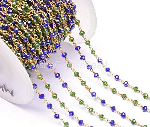 Shree_Narayani Cadena de rosario de 10 pies a granel azul místico, cadena de cuentas facetadas de cromo verde, 3 mm, alambre chapado en oro joyería cadena de artesanía multi colores de piedra
