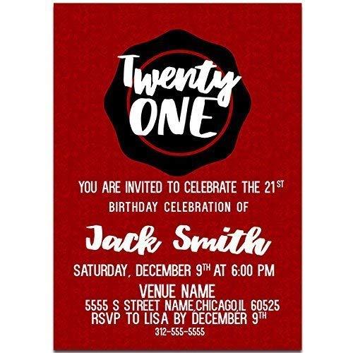 Amazon Com Shield Happy 21st Birthday Party Invitations Handmade
