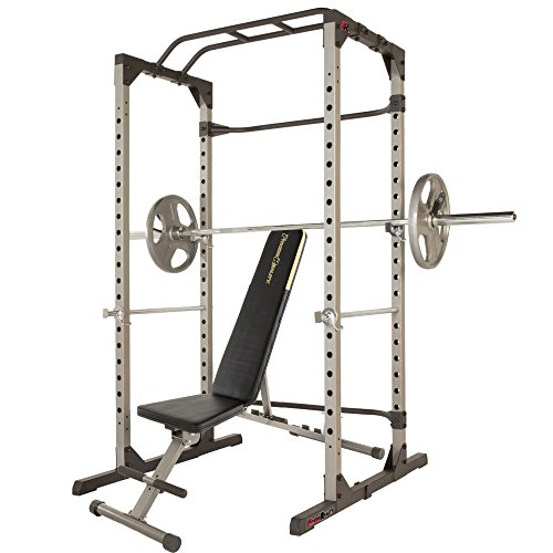 Fitness Reality 810XLT Super Max Power Cage with Optional Lat Pull-down Attachment and Adjustable Leg Hold-down, Power Cage with Weight Bench Combo