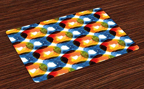 ABAKUHAUS Modern Placemat Set van 4, Aquarel Ring Vormen, Wasbare Stoffen Placemat voor Eettafel, oranje Blauw