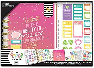 The Happy Planner 12 Month Box Kit - Wealth & Budget Planner Kit - 1 Twelve Month Undated Classic Budget Planner - 4 Sheets of Stickers - 1 Magnetic Bookmark - Sticky Notes