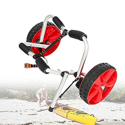 EFGS Carro Aluminio Kayak,40 Kg De Carga Porta Tablas Surf Bicicleta,Correas De 3m De Largo Fijo Funda Protectora De Goma Llantas De Plastico