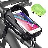 HASAGEI Bolsa impermeable para marco de bicicleta, bolsa para manillar, soporte para teléfono móvil, bolsillo para teléfono móvil