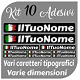 CrisPhy Set di x10 Adesivi in Vinile con Il Tuo Nome con la Bandiera dell'Italia – Bici, Casco, Racchetta da Paddle, Skateboard, Auto, Moto, ECC (Font Pack 1)