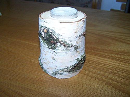 4 Stück Teelichthalter aus Holz Birkenholz Birkenstamm rund Tischdeko massiv Holz