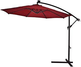 Lucky-gift - Burgundy 10' Patio Hanging Umbrella Sun Shade with Solar LED Lights Outdoor Umbrella for Table with Lights - Outdoor Umbrella Stand Cover Waterproof Uv Protection Solar Lights