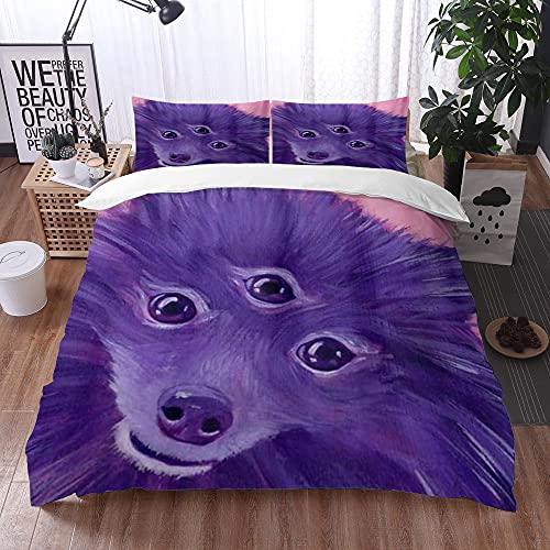Qinniii Bedsure Funda Nórdica,Alien Purple Dog Art Pomerania Painitng,Fundas Edredón 240 x 260 cmcon 1 Funda de Almohada 40x75cm