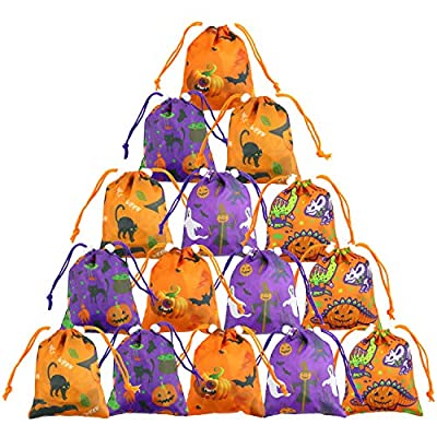 Halloween-Bags-for-Candy-Small-Drawstring Treat Goodie Bags for Kids Halloween Gift Bag Bulk 15 Pack
