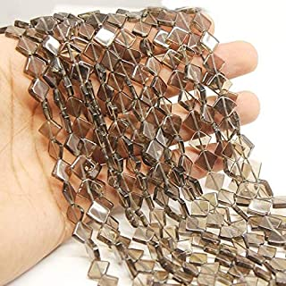 "Jewel Beads Natural Beautiful jewellery 5 Strand Lot Smoky Quartz Smooth Gemstone Fancy Diamond Kite Loose Craft Beads 13"" 9mm 10mmCode:- JBB-2082"