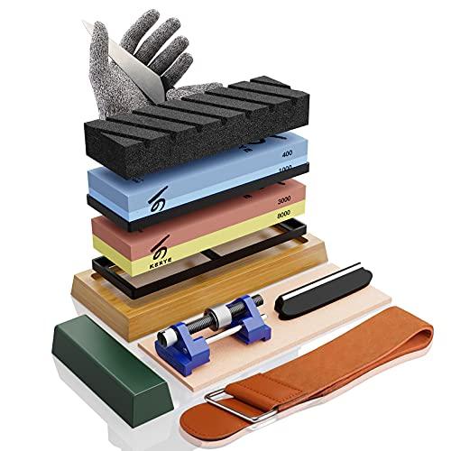Complete Knife Sharpening Stone Set, KERYE Professional Japanese Whetstone Sharpener, Premium 4 Side Grit 400/1000 3000/8000 Water Stone, Flattening Stone, Chisel Honing Guide, Cut Resistant Gloves