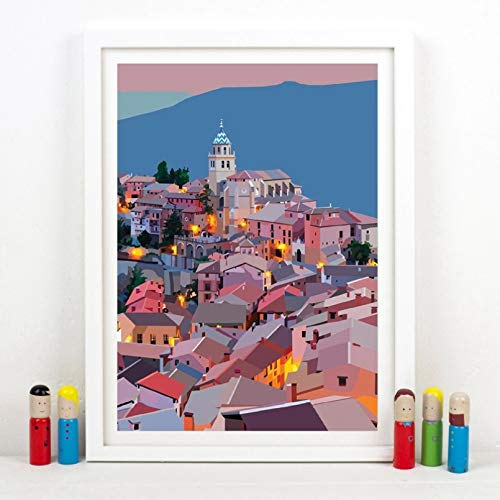 N/A Canvas Painting Print Decor Painting Poster Wall Art Prints Albarracin Colorful Artwork Aragon Poster Teruel Art Canvas Painting Spanish Nursery Wall Decor Home Decor Gift
