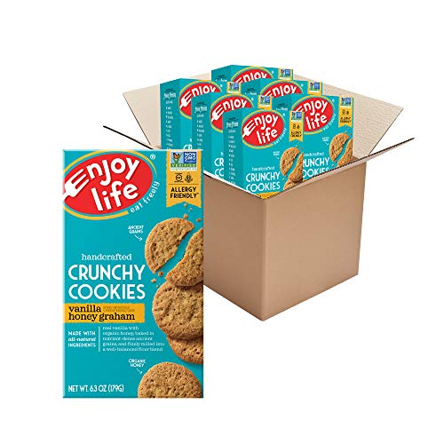 Enjoy Life Crunchy Vanilla Honey Graham Cookies, Nut Free Cookies, Soy Free, Dairy Free, Gluten Free, Non GMO, 6 Boxes