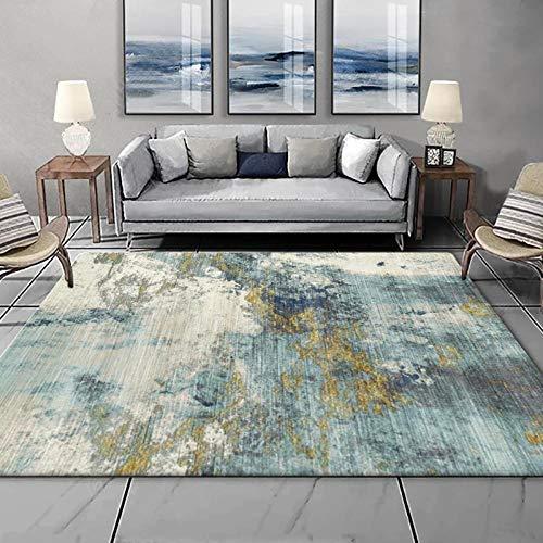 Alfombras Salon Grande Tinta Abstracta Azul y Amarilla nórdica de Moda Alfombra...