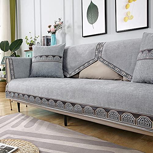 Fsogasilttlv Funda Cubre Sofá Funda de Almohada, sofá de Chenilla, sofá de Toalla, cojín de sofá para Sala de Estar, decoración del hogar, Funda Gris 1 50 * 50 cm