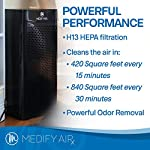 Medify ma-40 2. 0 medical grade filtration h13 true hepa for 840 sq. Ft. Air purifier, 99. 97% | modern design. 15 medical grade h13 filters (higher rated than true hepa) 99. 9% particle removal. H13 true hepa is considered medical grade air filtration, the unit alone is not a medical device. Cleans a room up to 1,600 sq ft in one hour, 840 sq ft in 30 minutes, 420 sq ft in 15 minutes (cadr 330) to make v2. 0 quieter in 'sleep mode' and speed 1 the ionizer is automatically turned off, on speed 2 and 3 it can be turned on/off as needed | carb, energy star & etl certified.