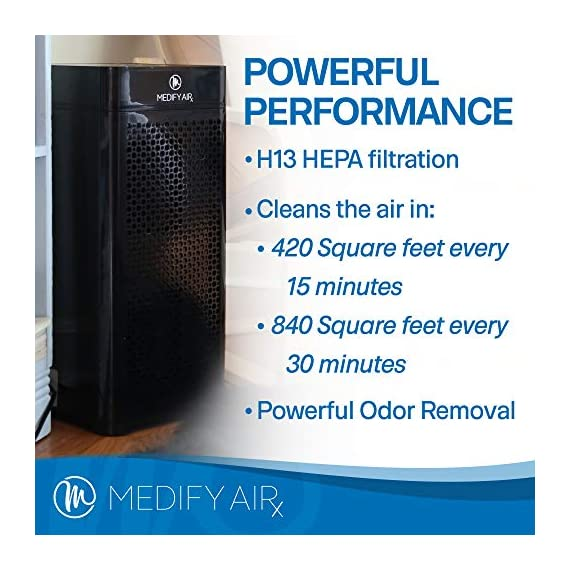 Medify ma-40 2. 0 medical grade filtration h13 true hepa for 840 sq. Ft. Air purifier, 99. 97% | modern design. 6 medical grade h13 filters (higher rated than true hepa) 99. 9% particle removal. H13 true hepa is considered medical grade air filtration, the unit alone is not a medical device. Cleans a room up to 1,600 sq ft in one hour, 840 sq ft in 30 minutes, 420 sq ft in 15 minutes (cadr 330) to make v2. 0 quieter in 'sleep mode' and speed 1 the ionizer is automatically turned off, on speed 2 and 3 it can be turned on/off as needed | carb, energy star & etl certified.