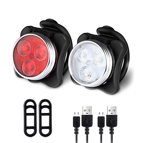 ACLBB USB Set Fanalini Anteriori E Posteriori per Bicicletta, 2 Pezzi Ricaricabile Fanalini Anteriori per Bicicletta Impermeabile Facile da Montare per Sicurezza in Bicicletta