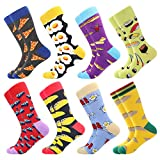 Bonangel Men's Fun Dress Socks-Colorful Funny Novelty Crew Socks Pack,Art Socks (Pizza 3)