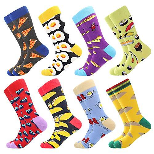 BONANGEL Herren Bunte Lustige Socken, Herren witzige Strümpfe, Fun Gemusterte Muster Socken, Verrückte Socken Modische Mehrfarbig Klassisch als Geschenk, Neuheit Sneaker Crew Socken (8 Paar-Pizza3)
