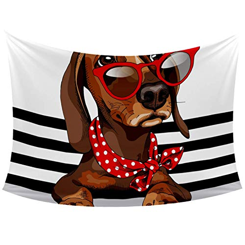 Dachshund Dog Red Sunglasses Polka Dots Neck Scarf Striped Tapestry Wall Hanging for Home Wall Decorative for Living Room Bedroom Dorm Decoration, 60x40 Inches