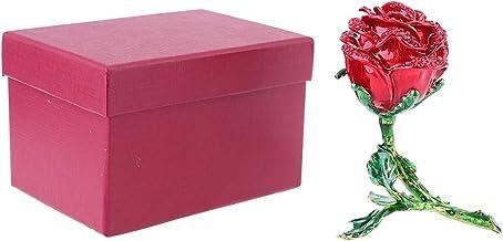 Bciou Rose Bloem Beeldje met Strass Crystal Ornament - Sieraden Scharnierende Doos (rood)