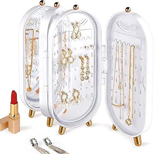 zhyx-Caja de almacenamiento con soporte para pendientes pequeños, soporte de escritorio para joyería, caja de joyería a prueba de polvo con caja de almacenamiento de espejo, regalo. (Blanco)