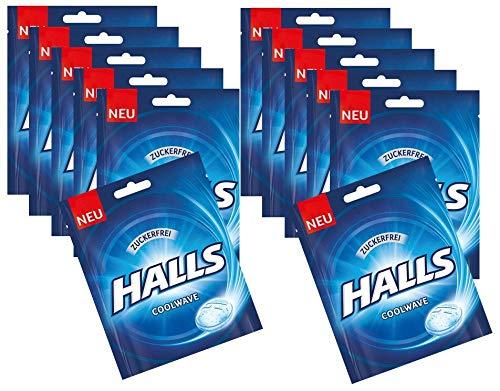 Halls Original Frische Bonbons Cool Wave zuckerfrei 65 g,12er Pack (12x65g)