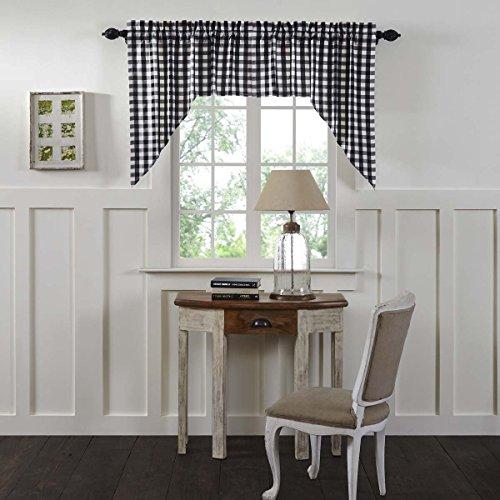 VHC Brands Annie Buffalo Check Curtain, Swag Set 36x36x16, Black