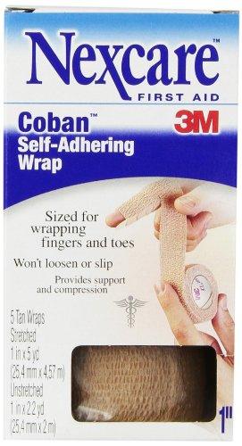 Nexcare Coban Self-Adherent Wrap, Tan, 1 Inch X 5 Yards