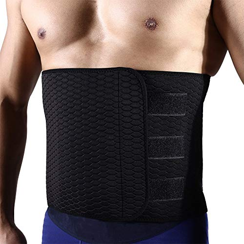 "ZOHUMI Sweat Waist Trimmer, Neoprene Waist Trainer Adjustable Widened Ab Belt for Weight Loss/Abdominal Muscle/Back Support (XL/Mens Waist 41""-50"") Black"