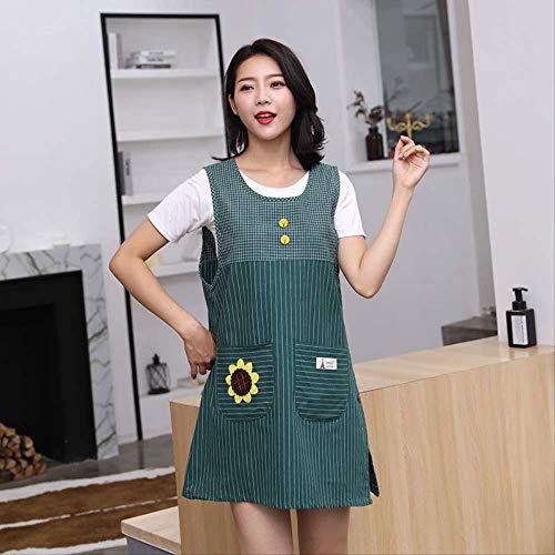 mhde Delantales Moda algodón Bata Gruesa Cocina hogar cafetería Anti-Vestido Chaleco Delantal de Manga Largacódigo7016Chaleco Verde