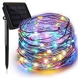 イルミネーションライト ソーラーフェンス 屋外 気分で選べる8パターン点灯できる 100球 10M IP65防水で雨や雪が降る日でも心配なし 誕生日パーティー 結婚式などの飾りレインボー4色