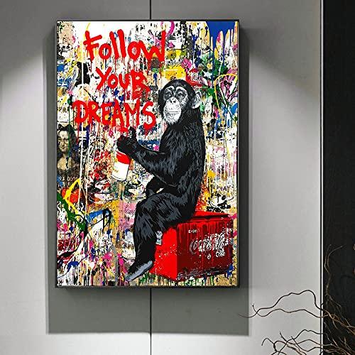 Orangutang Färgglada graffitikonstmålningar Följ dina drömmar Street Wall Abstrakt Einstein Pop Heminredning 20x30inch