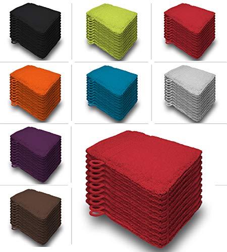 one-home 10er Set Waschhandschuhe Waschhandschuh Waschlappen 16x21 cm Frottee Baumwolle, Farbe:Rot