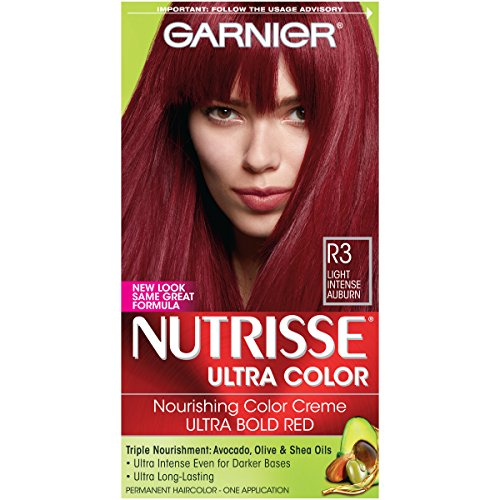 Garnier Nutrisse Ultra Color Nourishing Hair Color Creme, R3 Light Intense Auburn (Packaging May Vary), Pack of 1