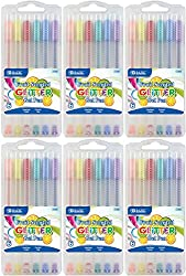 top 10 bazic gel pens BAZIC 6 gel pen with 6 cases with colored glitter and fruit scent – 36 pens in total