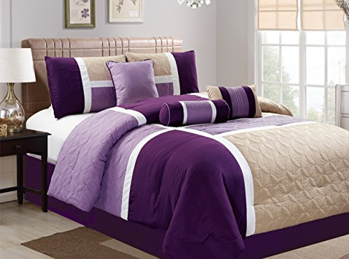 Dovedote 20617_Purple_CK 7 Piece Luxury Microfiber Quilted Patchwork Comforter Set, Cal King