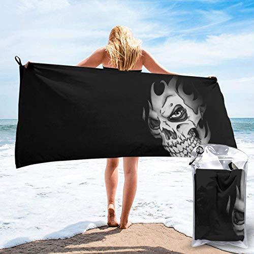 Toalla de baño Skull Flame Hair Scary Skeleton Microfiber Sand Free Toalla de Playa Manta de Secado rápido Super Absorbente Toalla Fina y Ligera
