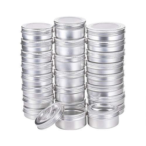 BENECREAT 24 Pots de bidon en Aluminium de 60 ML / 80 ML / 100 ML, boîtes de Conserve en Aluminium Rondes pour Produits cosmétiques avec Couvercle à Couvercle à vis Platine(8 pièces par Taille)
