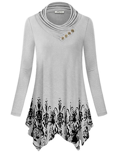 SeSe Code Petite Tops for Women, Girl Floral Boho Flare Long Sleeve Cute Shirt Cowl Neck Stylish Slim Dressy Tunic Blouse Peasant Paisley Pattern Shirt for Work Casual Sweater Extra Long White-Gray M