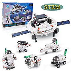 【6-IN-1 SOLAR ROBOT KIT】The STEM toys solar robot kit can create six different working models including a Space Station, Explorer, Space Rover, Astronaut, Shuttle and Dog. What's more interesting is that six small robots can make a big space mech. Ch...