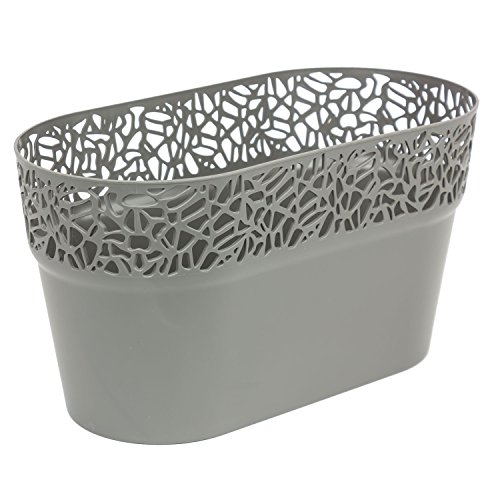 Ovale cache-pot NATURO plastique romantique style, gris