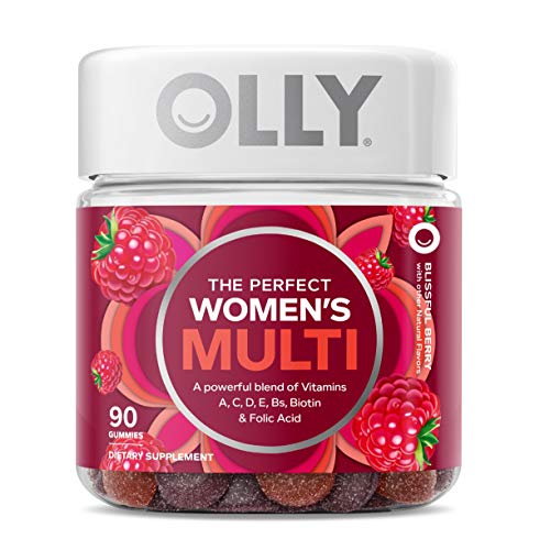 OLLY The Perfect Womens Gummy Multivitamin, 45 Day Supply (90 Gummies), Blissful Berry, Vitamins A, D, C, E, Biotin, Folic Acid, Chewable Supplement