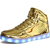 MILEADER High Top LED Shoes Gold Light Up Shoes Size 10.5 Women 8.5 Men Fashion USB Charging Sneakers for Women Men