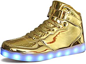 MILEADER High Top LED Shoes Gold Light Up Shoes Size 9 Women 7.5 Men Fashion USB Charging Sneakers for Women Men