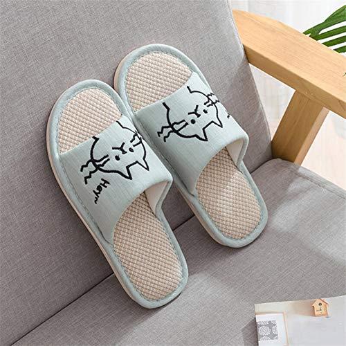 ZZNVS Mujer Moda casa Zapatos Piso Confort Hembra Pareja Estilo Interior Mujeres Suave casa Plana Gato Zapatillas algodón Invierno Caliente (Color : Green, Shoe Size : 6)
