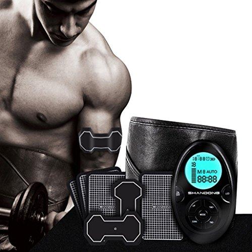 L-life Massagegürtel Bauchtrainer und Bauchsimulator Bauchmuskeltraining und Muskeltrainer Abdomen/Taille/Bein/Arm/Hüfte mit 9Moden und 10Leveln und USB-Aufladung, Körperfitnessgeräte