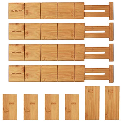 AMUR LEOPARD Bamboo Drawer Dividers Organizer Set of 4, with 6 Extra Mini Dividers, Spring Loaded, Expandable Drawer Organization for Kitchen, Bedroom, Bathroom and Office, 13.25-17 inches, Natural